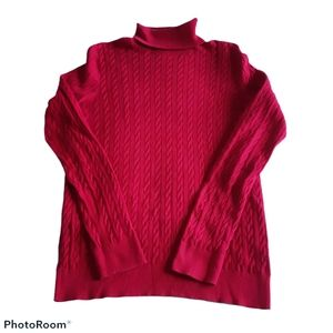 Talbots sz M pink red  cable long sleeve turtlneck